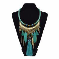 afrikanische perlen halsketten großhandel-Bohemian Ethnic Thread Lange Quaste Bib Halsketten Afrikanische String Perlen Feder Flügel Maxi Halskette Erklärung Für Frauen Jelwery