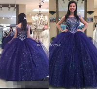 white dresses for sweet 15 Australia - Sparkly Royal Blue Ball Gown Quinceanera Dresses 2018 Jewel Floor Length Crystal Beads Sequined Prom Party Gowns For Sweet 15