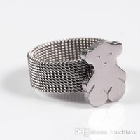 Wholesale bear colour - 2017 Stainless Steel 100% Bear Ring Silver Plated For Women 4 Sizes 2 Colours Cute Fashion