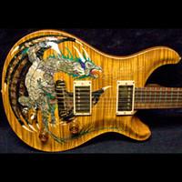 guitarra eléctrica de violín al por mayor-1999 Paul Reed Dragon 2000 # 30 Violín Amber Flame Maple Top Guitarra eléctrica Sin incrustaciones de diapasón, doble bloqueo de trémolo, madera encuadernación del cuerpo