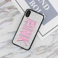 iphone de navidad al por mayor-PINK cubierta de diseño de moda Glitter 3D bordado amor rosa caja del teléfono para iPhone XS, iPhone XR Navidad iPhone 8 para Samsung S9 S9 más 9+ nota8