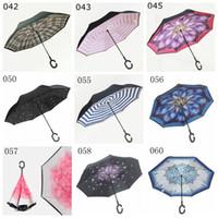 зонтичные сумки оптовых-Двойной слой перевернутый зонтик открытый завод Китай 8 ребер сложить вверх ногами ткань ветрозащитный C-образной ручкой обратный зонтик с мешком YM001-064