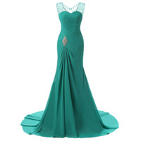 Wholesale prom dresses shops for sale - Group buy 2020 Long Prom Dresses Crystals Sheer Neck Keyhold Back With Zipper Chiffon Formal Party Dresses Free Shopping For Women