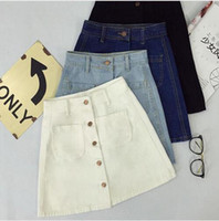 Wholesale front pencil skirt - New summer Womens ladies A-line Pencil Jeans Skirt Front Button High Waist Denim small pockets Skirt black white harajuku