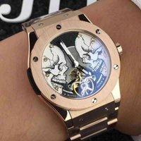 relógio de marca prata venda por atacado-Relógio mecânico top marca homens cronômetro relógio mecânico cronógrafo de prata mostrador preto aço couro marrom safira vidro dos homens relógios