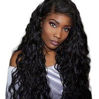 mano ondulada atada pelucas al por mayor-Remy cabello humano peluca llena de encaje Onda de agua ondulada 180% densidad 100% atada a mano peluca afroamericana rayita natural medio larga humana de las mujeres