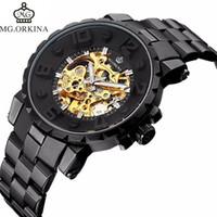 viejos relojes mecanicos al por mayor-MG.ORKINA Casual Relojes para hombres Top antiguo deporte de lujo Negro Auto regalo mecánico Reloj grande correa de acero inoxidable reloj