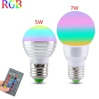 Wholesale 1PCS E27 RGB LED Lamp W W V LED RGB Bulb Light V V V Led Soptlight Remote Control Color Change Lampada