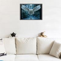 hiboux à vendre achat en gros de-Sans cadre Hibou Point De Croix Ronde Peintures Au Diamant Enfants Chambre Salon Décoration Décor Vente Chaude 9 9tz C R