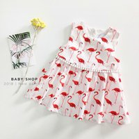 Wholesale Wholesale Sleeveless Toddler Cotton Dresses - Summer Baby Girls Dress Flamingo Baby Fashion Print Sleeveless Dresses 2018 New INS Kids Dress Toddler Clothing Children Clothes