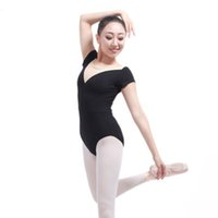 collant bege venda por atacado-Adulto de Malha de Manga Curta Ginástica Ballet Leotards para Mulheres Ballet Dance Collant com Bege Low-V Neck Backless Trajes 9079