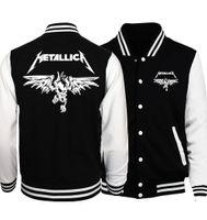 chaqueta de béisbol de rock al por mayor-2018 Primavera Venta Caliente Banda de Rock Metallica Chaqueta de Los Hombres Chaquetas de Béisbol de Moda Sudaderas Con Capucha Outwear Más Tamaño Hipster Hombres Abrigo D18101106