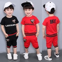 Wholesale cute baby boy pajamas - Boys bee Autumn Summer Casual Clothing Set Girls Daily home Pajamas Sets Baby kids short sleeve T-shirt +short two-piece suit Set