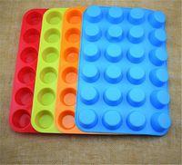 mini bardak kalıpları toptan satış-Mini Muffin Kupası 24 Kavite Silikon Sabun Çerezler Cupcake Bakeware Pan Tepsi Kalıp Ev DIY Kek Kalıp