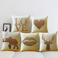 Wholesale gift pillow love online - Simple Throw Pillow Case Elephant Love Elk Lips Pattern Protector Bed Sofa Car Waist Cushion Cover Gift Home Decor ym bb