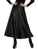 Wholesale Pu Leather Xxl Women - Winter PU Leather Skirt Women saia faldas Maxi Long Skirts Womens High Waist Slim Autumn Vintage Pleated Skirt Black XL XXL