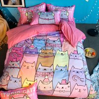 Wholesale queen size beds free shipping for sale - kids cartoon cats for single twin full queen size duvet cover sheet pillowcase set bedding set no filler