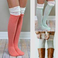 Wholesale Girls Crochet Boots - Women Knitted Stockings Ladies Spring Autumn Warm Socks Crochet High Knee Socks Long Boot Cuffs leg warmers 9colors