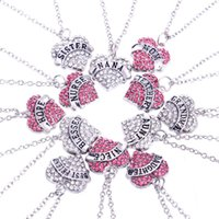 Wholesale Mom Diamond - Explosion models of foreign trade Engraved English letters Heart Diamond Diamond Family members Mom and daughter Love affection necklace