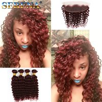 Wholesale deep wave hair weave styles resale online - New Style Burgundy Hair deep Curly Weave j brazilian Malaysian Peruvian Deep Wave Virgin Hair Wine Red Hair Bundles With Frontal