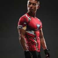 Wholesale marvel t - MMA Men Youth Anime 3D T-Shirt Marvel Superhero Spiderman Ironman T Shirt Man Fitness tee Compression Shirt High elastic Tights