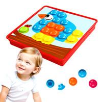 Wholesale puzzle kit - Button Mushroom Puzzles Toys Creative Mosaic 3D Picture Composite Puzzle Nail Kit For Children Button Art Kids Educational Toy