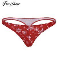 ingrosso bikini rosso mens-Red Mens Lingerie Slip Sexy Sissy Panties Low Rise Natale Snowflake Stampato Slip Bikini Men Thong Intimo Tanga Hombre