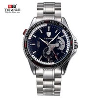 Wholesale Wound Up - TEVISE Top Brand Automatic Mechanical Men Watch Luminous Stainless Steel Band Watches Men Self-Wind Mechanical Wristwatch+box