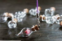 frascos de frasco pingente venda por atacado-Mini Garrafas De Vidro de Cortiça De Madeira Pendurado Corda Frascos Pequenos Que Desejam Garrafas Pulseiras Pingentes Presentes Garrafas de Deriva