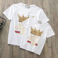 Wholesale organic cotton blend - Branded Children King Crown Carton Applique Print Cotton T-shirt Soft Kids Letter Round Neck Cotton White Black Sweatshirt Size 120-160