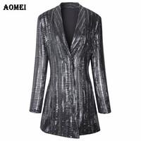 blaser giysileri toptan satış-Sequins Gilding Shining Blazer Ceket Yeni Moda Suit Kadın Workwear Ofis Lady Blaser Giyim Güz Kış Ceketler Uzun Dış Giyim