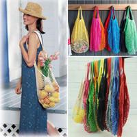 moda pamuklu çanta torbaları toptan satış-12 Renkler Moda Alışveriş Örgü Çanta Uygun Kullanımlık Meyve Dize Bakkal Shopper Pamuk Tote Sebze Depolama Açık Çanta AAA568