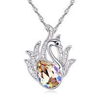 82705ec0b2 Collana ciondolo cigno per regalo festa della mamma Gioielli donna  realizzato con cristalli Swarovski Elements placcato oro bianco 20790