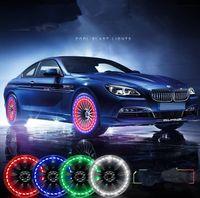 oto lastiği ışıkları toptan satış-15 Mod Güneş Enerjisi LED Araç Oto Flaş Jant Lastik Vana kapağı Neon DRL Gündüz Işık Lambası Araba Tekerlekler Lambası Oto acccessories KKA4537 Running