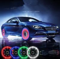 ruedas led para coches al por mayor-15 Modo de energía solar del casquillo de válvula de la rueda del coche LED flash automático de neumáticos de neón DRL luz de la lámpara del coche Ruedas lámpara auto Acccessories KKA4537