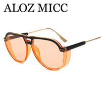 lüks erkekler gözlük toptan satış-ALOZ MICC Moda Buhar Punk Güneş Gözlüğü Erkek Kadın Marka Tasarımcı Lüks Güneş Gözlükleri Kadın Eğilim Gözlük için UV400 A587