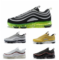Wholesale neon green laces - 2018 VaporMax 97 Silver Bullet Metallic Gold neon Running Shoes with box 97 Undefeated sneaker sports shoes size 36-45 free shipping
