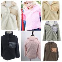 Wholesale Kids Hooded Sweaters - KIDS winter Coats Hooded Wear Casual Sherpa Jacket for kids Winter Jacket Coat Sherpa Sweatshirt Baby sweater LJJK874