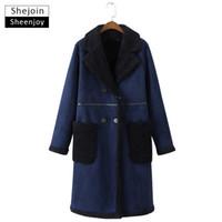 Wholesale lamb leather coats women - ShejoinSheenjoy Womens Coats 2017 Winter Coat Women Fashion Elegant Double Breasted Lamb Wool Thick Warm Long Faux Suede Coat