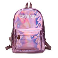 Wholesale lasers for sale for sale - Hot Sale Embroidery Letters Crybaby Hologram Laser Backpack Women Soft PU Leather Backpack School Bags For Girls