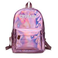 kız okul sırt çantaları satılık toptan satış-Sıcak Satış Nakış Mektuplar Crybaby Hologram Lazer Sırt Çantası Kadın Yumuşak PU Deri Sırt Çantası Okul Çantaları Kızlar Için Ücretsiz Kargo