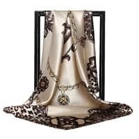 ingrosso grande catena del leopardo-90 * 90 centimetri quadrato sciarpa di seta di marca di lusso delle donne catena del leopardo stampa sciarpe collo grandi foulard femme bandana fazzoletto