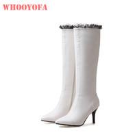 botas de invierno blanco venta al por mayor-2018 Brand New Winter Sale Blanco Verde Mujeres rodilla alta Dance Boots Señora Zapatos de vestir WK16 Stiletto Heel Plus Tamaño grande 10 32 43 46