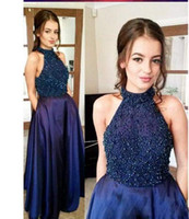 Wholesale charming hot sexy girls - Hot Fashion Halter 2018 Prom Dresses Sleeveless A-Line Lace With Beads Charming Evening Dresses Popular Girl Custom Made Party Dresses