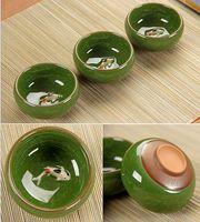 Wholesale ceramic fish - Tea Ceramic China Kung Fu Tea Sets Hot Chinese Tea Cups Porcelain Celadon Fish Teacup Drinkware Oolong Cups & Saucers