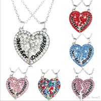 Wholesale Heart Shape Diamond Pendant - New hot foreign trade mother and daughter mothers and daughters heart-shaped diamond stitching pendant necklace Mother's Day gift
