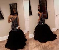 altın renkli parıltılı mermaid balo elbisesi toptan satış-2018 Sparkly Kristal Boncuk Mermaid Gelinlik Modelleri Sevgiliye Tül Siyah Altın Aplikler Akşam Parti Törenlerinde Afrika Siyah Kız Elbise