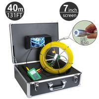 cámaras de video alcantarillado al por mayor-Sistema de inspección de desagüe de tubería de alcantarillado con tubería de desagüe de 40M / 131 pies Monitor de desagüe de serpiente con válvula de desagüe de serpiente de 9