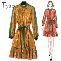 4xl kleid rüsche großhandel-Trytree Frauen Herbst Kleid Polyester Blumendruck A-Line Rüschen Saum Voller Ärmel Verstellbarer Gürtel Dreses O-Neck Casual Dress