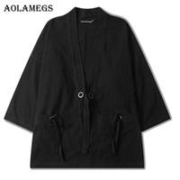 Wholesale Japanese Linen Fashion - Aolamegs Men Shirt Kimono Japanese Harajuku Solid Mens Shirt Linen Origin Casual Fashion Streetwear Hip Hop Outwear Brand Autumn